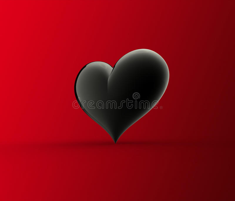Black heart isolated on red stock images