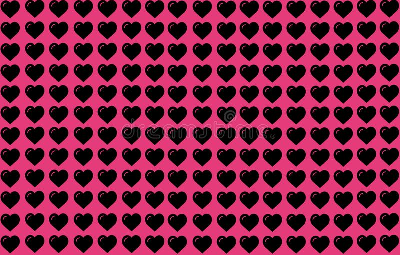Black Heart Shape on Pink Background. Hearts Dot Design. Can be used for Articles, Printing, Illustration purpose, background, royalty free illustration