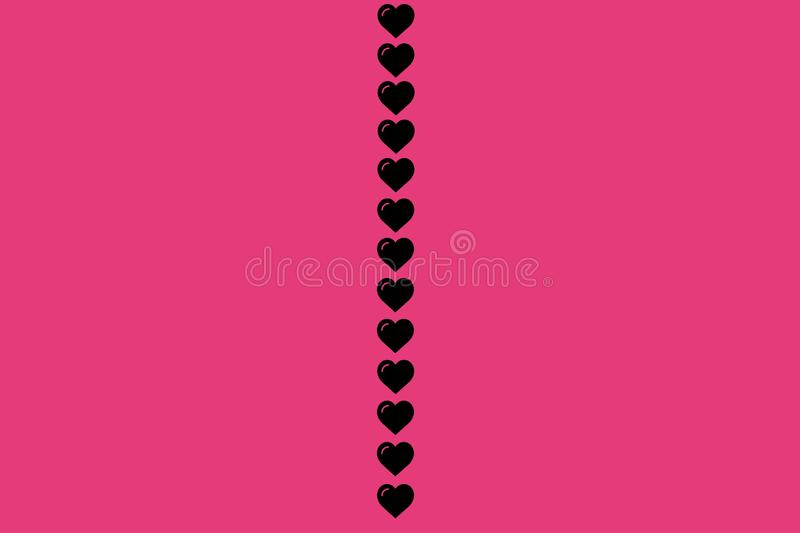 Black Heart Shape on Pink Background. Hearts Dot Design. Can be used for Articles, Printing, Illustration purpose, background, stock illustration