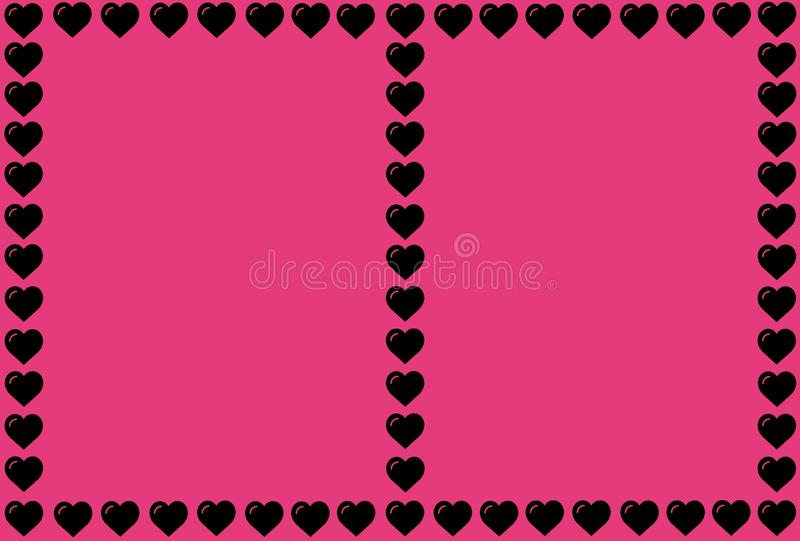 Black Heart Shape on Pink Background. Hearts Dot Design. Can be used for Articles, Printing, Illustration purpose, background, vector illustration