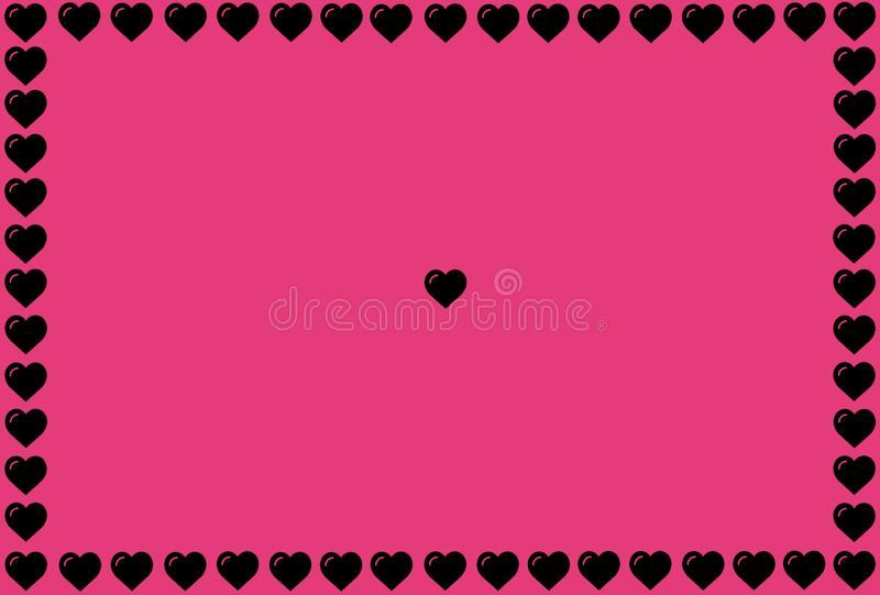 Black Heart Shape on Pink Background. Hearts Dot Design. Can be used for Articles, Printing, Illustration purpose, background,. Website, businesses vector illustration