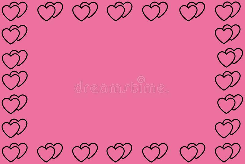 Black Heart Shape on Pink Background. Hearts Dot Design. Can be used for Articles, Printing, Illustration purpose, background,. Website, businesses royalty free illustration