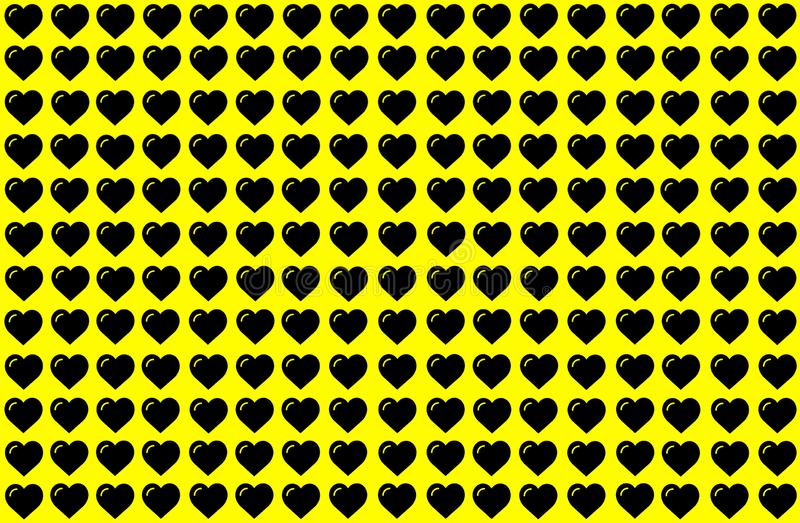 Black Heart Shape on Yellow Background. Hearts Dot Design. Can be used for Illustration purpose, background, website, businesses, vector illustration