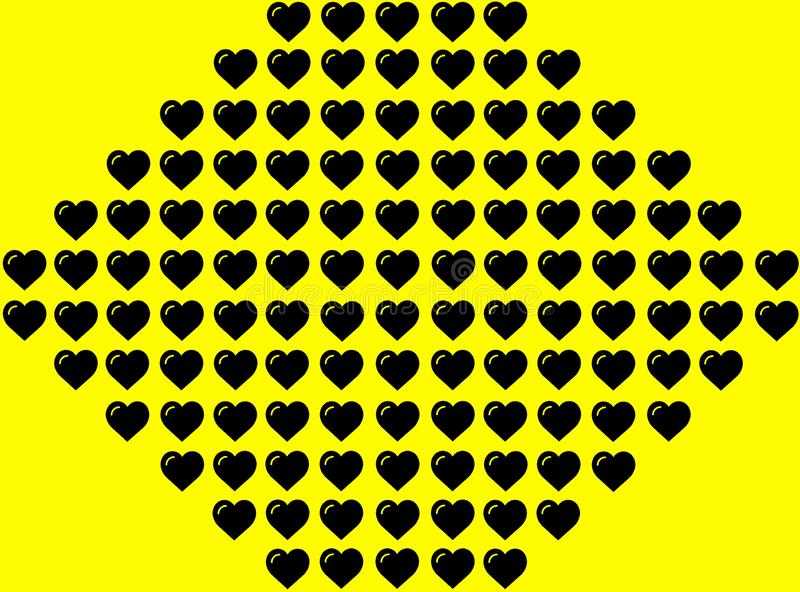 Black Heart Shape on Yellow Background. Hearts Dot Design. Can be used for Illustration purpose, background, website, businesses, royalty free illustration