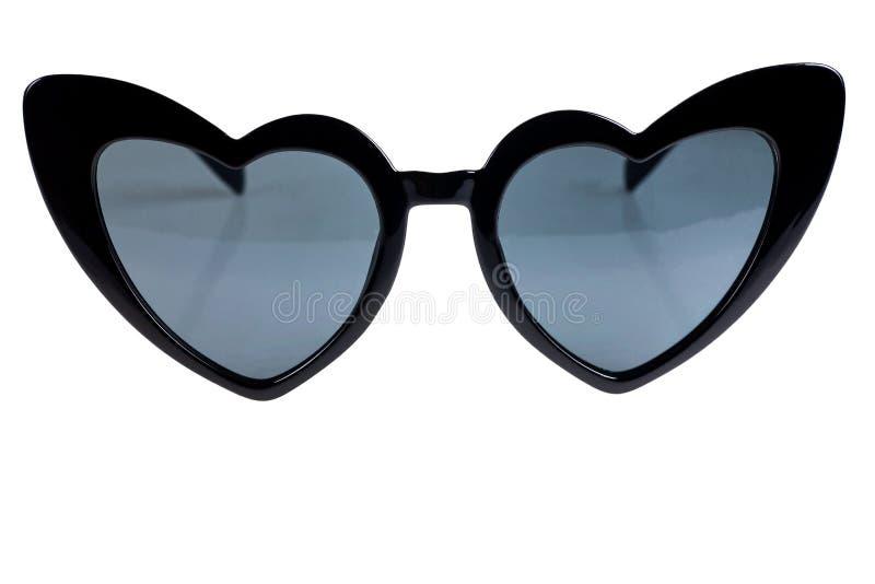 Black heart shaped sunglasses on a white background. Accessory, collection, cute, design, elegance, element, eye, eyeglasses, eyesight, eyewear, fashion royalty free stock photography