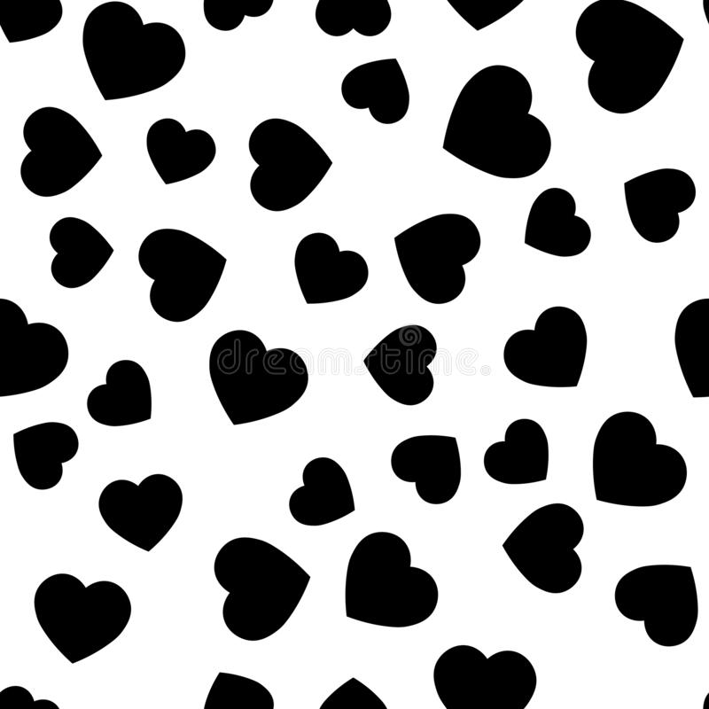 Black heart silhouettes seamless pattern. Random scattered hearts background. Love or Valentine theme. Vector royalty free illustration