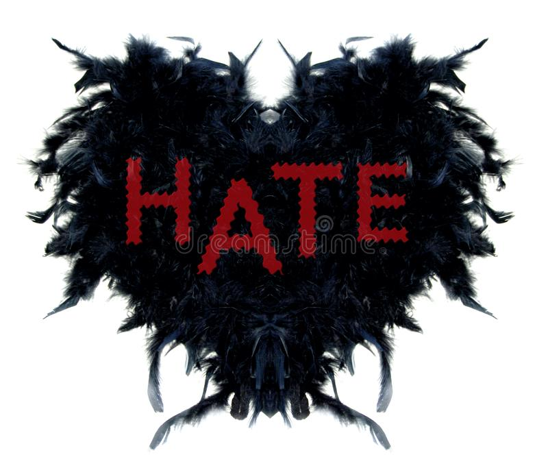 Black hearth made of black feathers with text HATE. Hearth made of black feathers with text hate. Useful in protest and information against hate issues and crime stock illustration