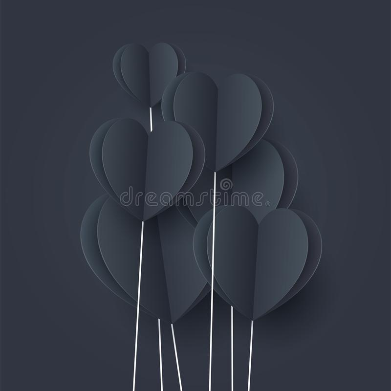 Black hearts with blue lighting. Paper flying elements on dark blue background postcard. Vector symbols of love in shape of heart. For Happy Women, mom, love`s stock illustration