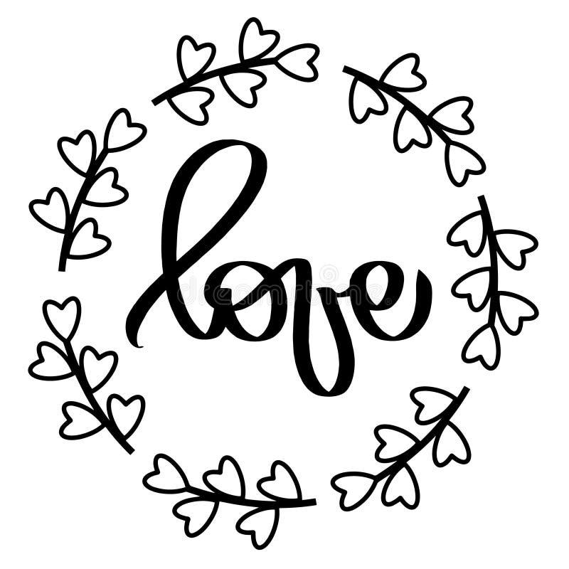 Black hearts frame Love. Vector illustration. Isolated round frame wreath. Decorative design element for wedding invitation, tags, stock illustration