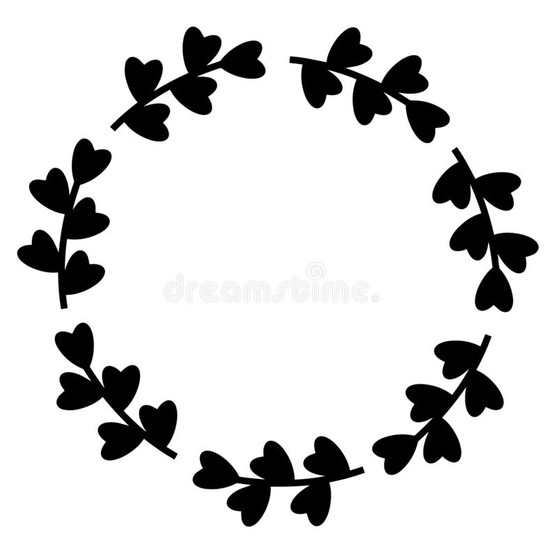 Black hearts frame. Vector illustration. Isolated round frame or wreath. Decorative design element for wedding invitation, tags, vector illustration