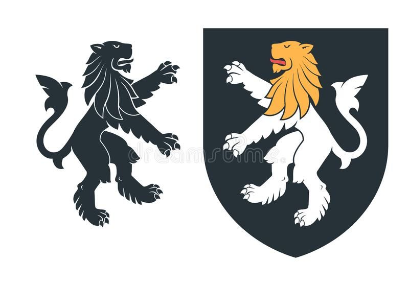 Black heraldic rampant lion 03 vector illustration
