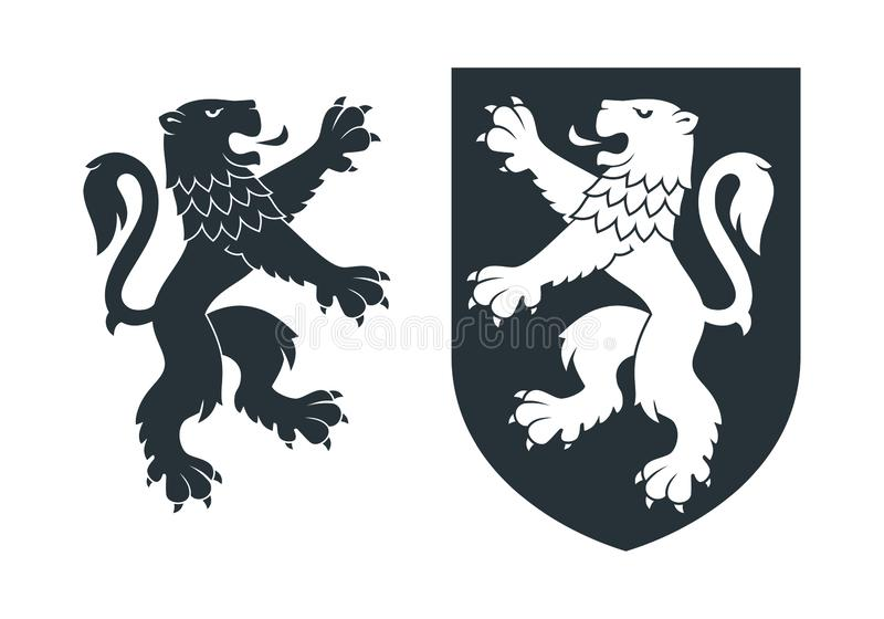 Black heraldic rampant lion 02 stock illustration