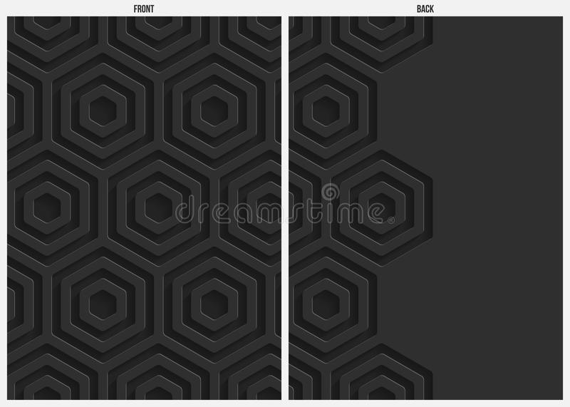 Black hexagon paper abstract background, front and back stock illustration