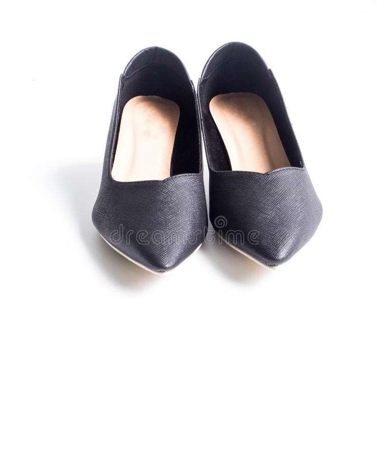 Black high heel. Shoes on white background royalty free stock photos