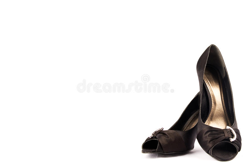 Black high heel women shoes. stock photos