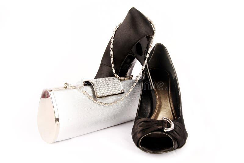 Black high heel women shoes. royalty free stock photos