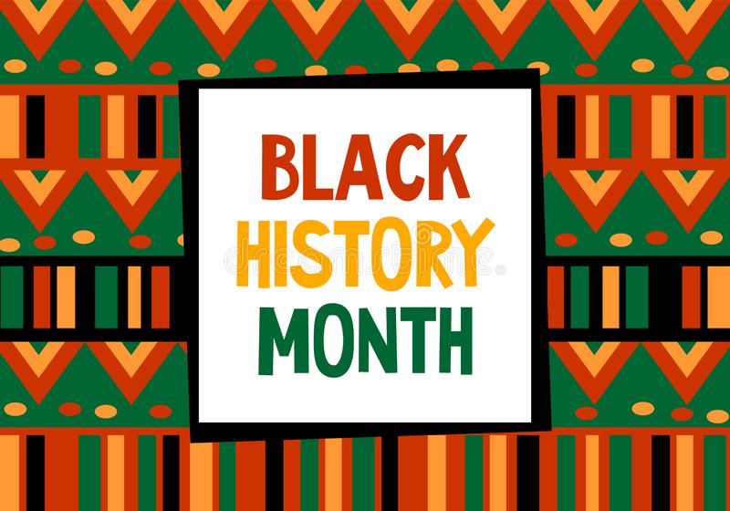 Black history month celebration vector banner. Art with ethnic African patterns. African-American History Month. Black history month celebration vector banner stock illustration
