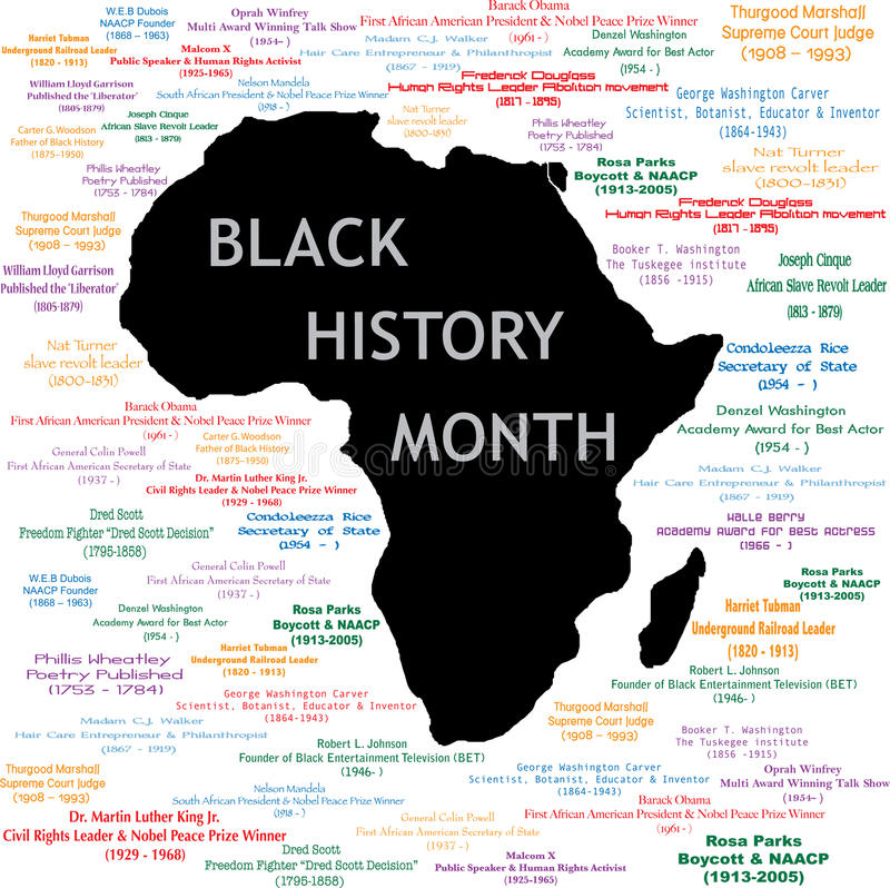 Black History Month Collage. Vector Illustration for black history month including names, time periods and what each person did. See others in this series. Makes royalty free illustration