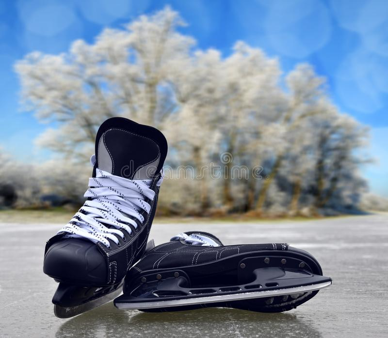 Black hockey skates. stock images