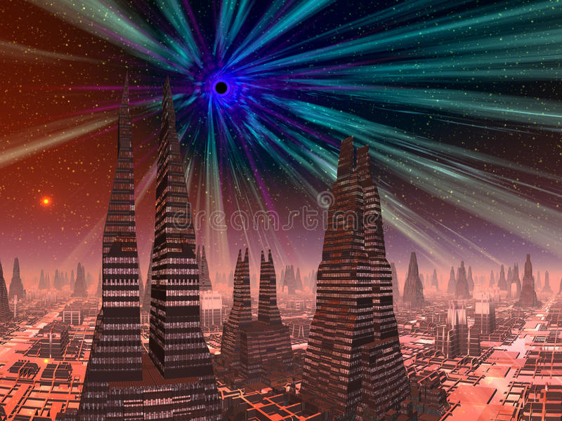 Black Hole over Futuristic City. The end is very near for the planet Scorpion and it's inhabitants as it sits beneath the event horizon of the beckoning worm royalty free illustration