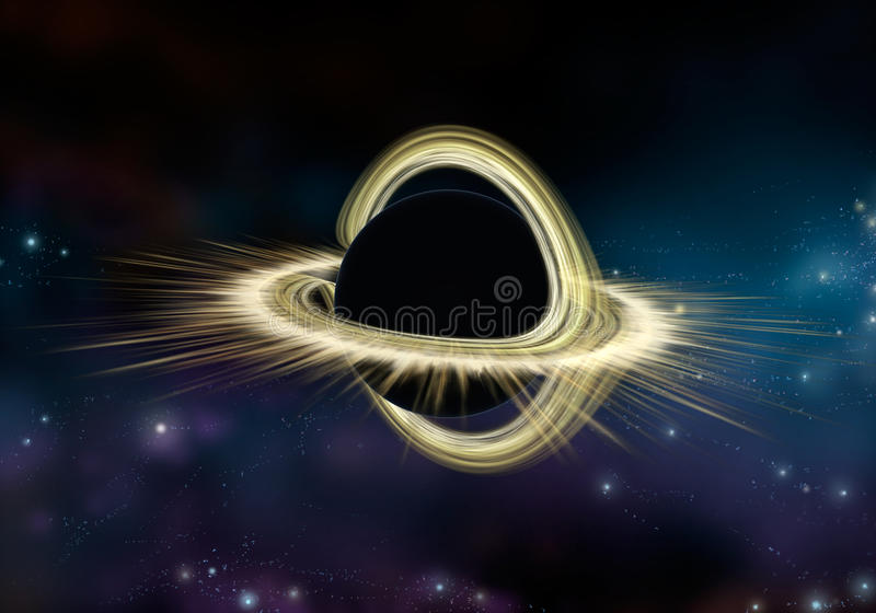 Black hole star in deep space, Physically accurate illustration royalty free illustration