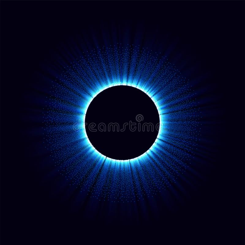 Black holes in the space. Abstract vector background with blue toned swirl and hole in center or collapsar isolated on royalty free illustration