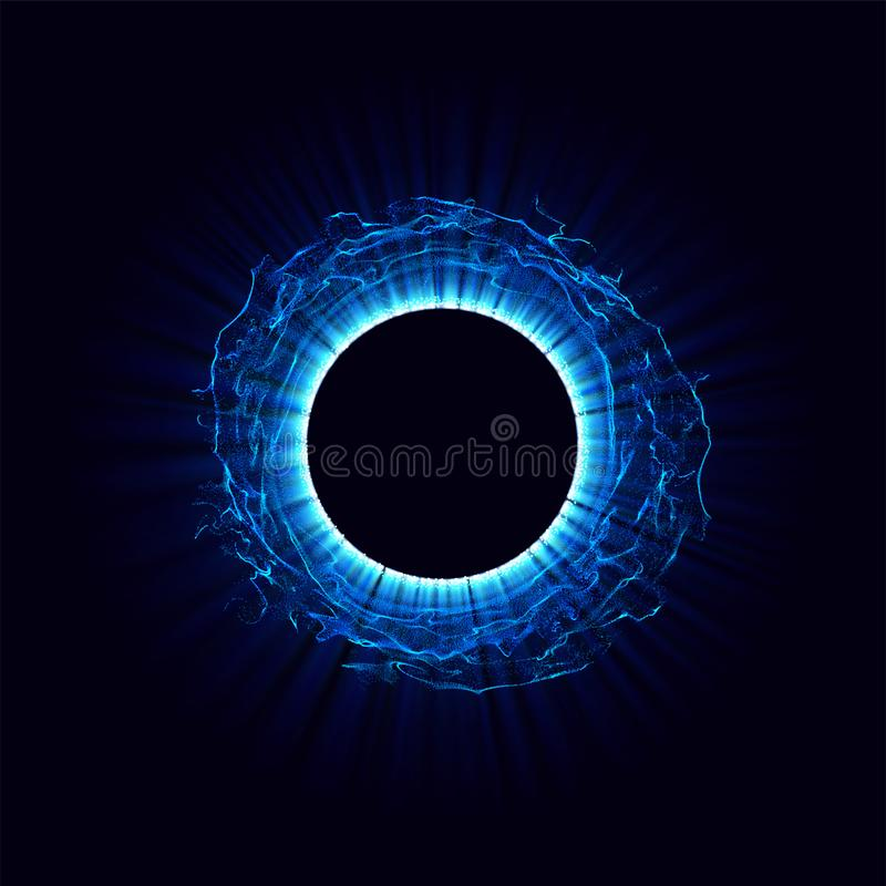 Black holes in the space. Abstract vector background with blue toned swirl and hole in center or collapsar isolated on vector illustration