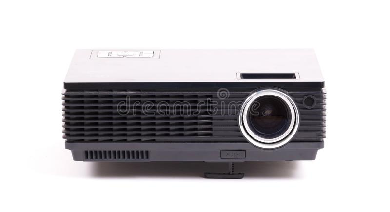 Black home cinema projector, isolated on white stock photography