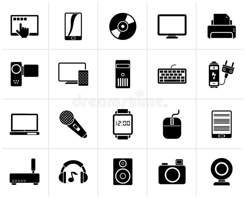 Black home electronics and personal multimedia devices icons. Vector icon set stock illustration
