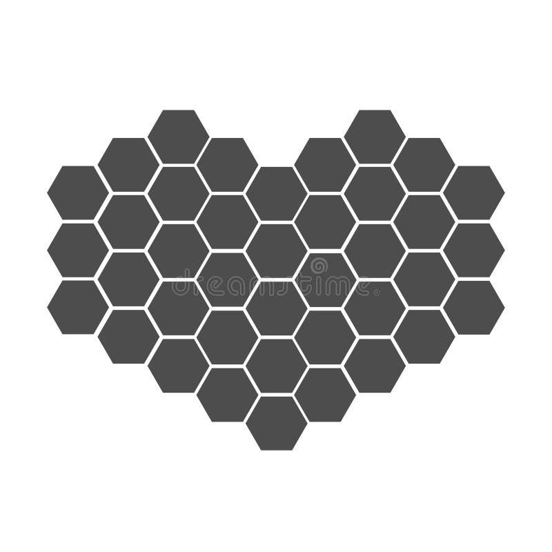 Black honeycomb set in shape of heart. Beehive element. Honey icon. Isolated. White background. Flat design. royalty free illustration