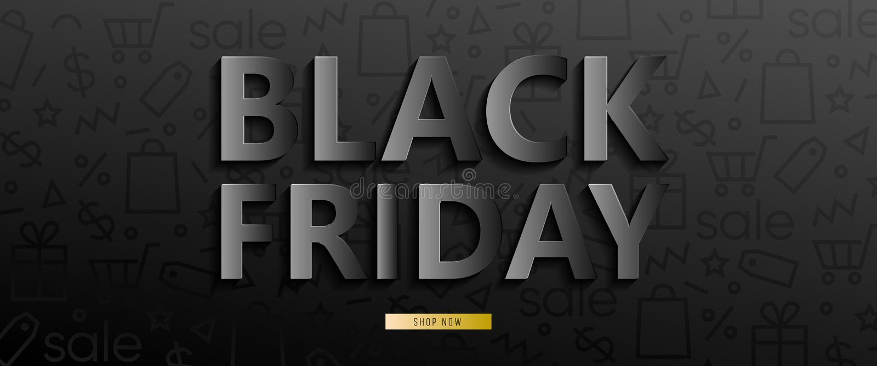 Black horizontal banner for sales on Black Friday. Black friday 3d text. Vector banner for shop, web, store, business vector illustration