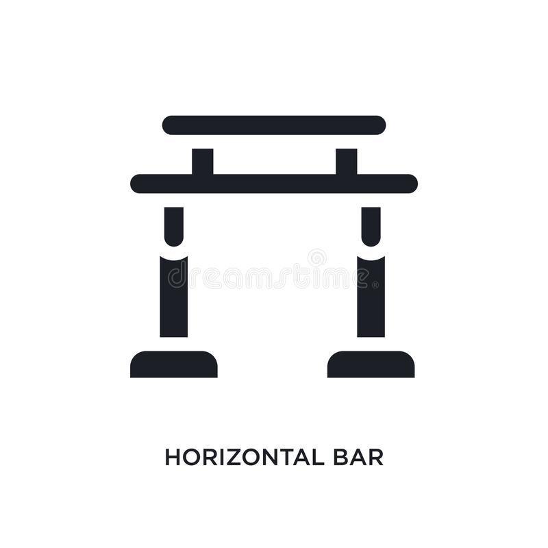 Black horizontal bar isolated vector icon. simple element illustration from gym and fitness concept vector icons. horizontal bar. Editable logo symbol design on stock illustration