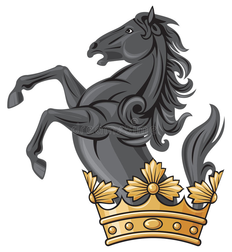 Download Black horse and crown stock image. Image of golden, lord - 23770669