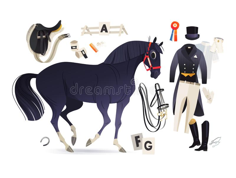 Black horse and dressage rider clothing and common horse equipment stock illustration