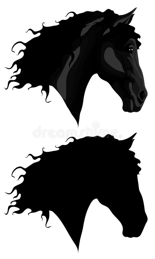 Black horse head + outline stock photography