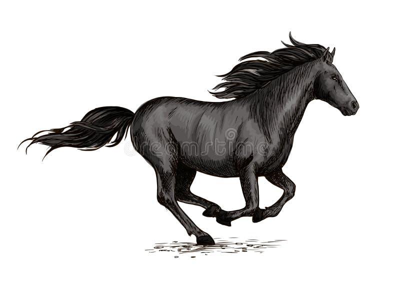 Black Horse Running On Racing Sport Stock Vector Illustration Of