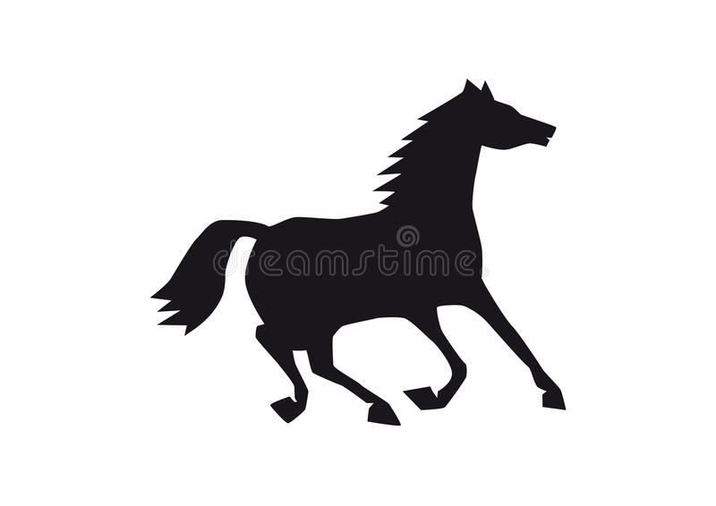 Black horse silhouette isolated on white background, happy animal trying to break after run, single funny creature stock illustration