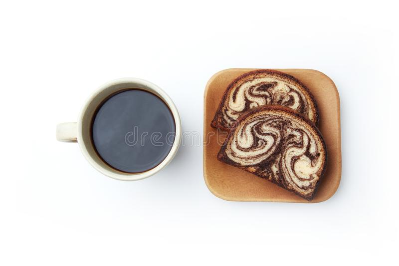 black hot coffee and marble chocolate pound cake isolated on white background stock image