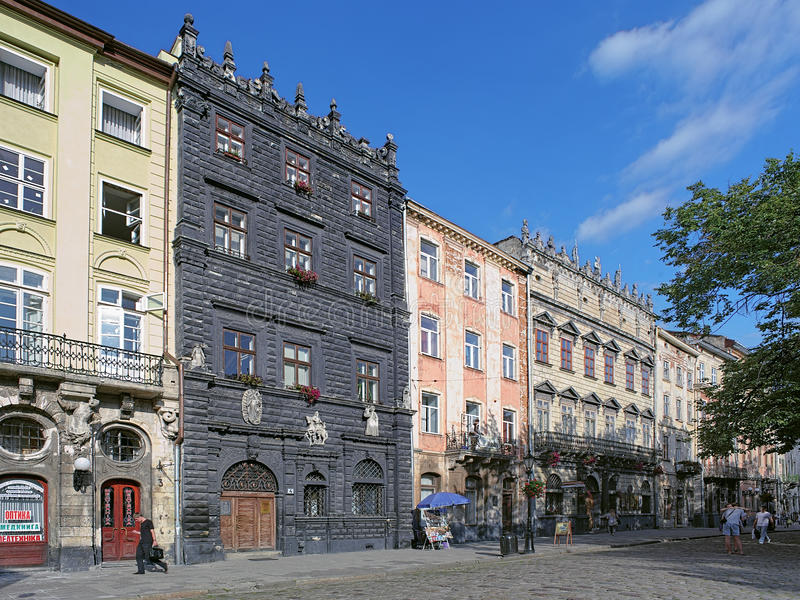 Black House And Korniakt Palace On The Rynok Square In Lviv Editorial Image