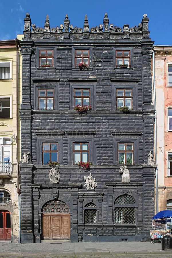 Black House in Lviv, Ukraine. Black House on the Market Square in Lviv, Ukraine royalty free stock photos