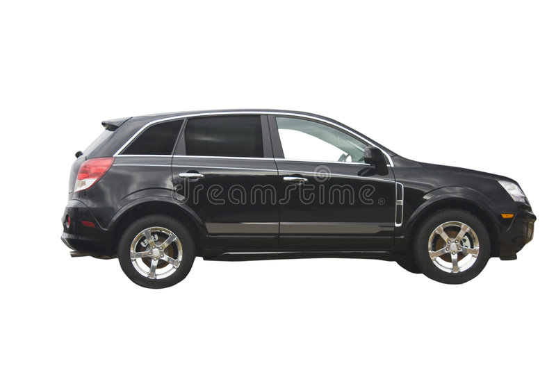 Black hybrid crossover SUV. Ecco friendly hybrid crossover SUV isolated on white royalty free stock photography