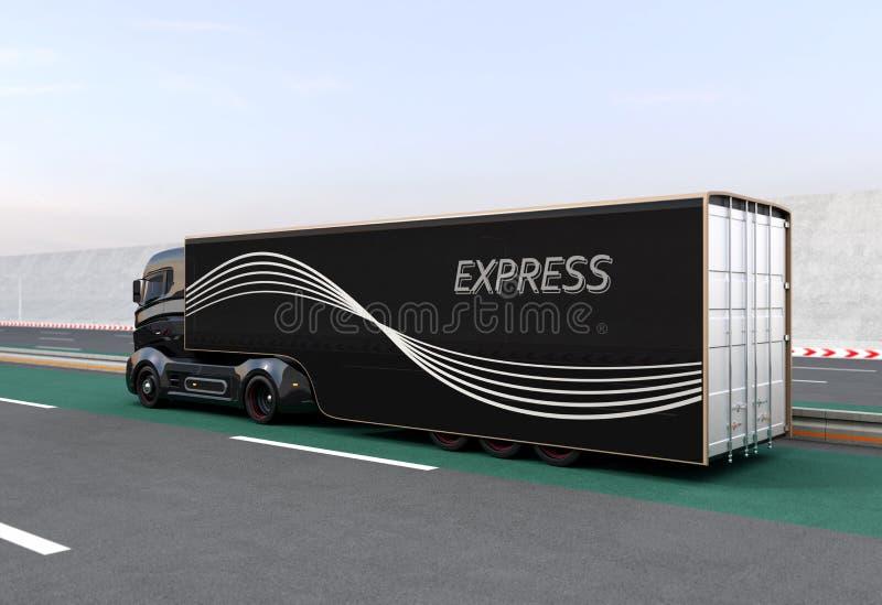 Black hybrid truck on highway. Rear view of black hybrid truck on highway. 3D rendering image vector illustration