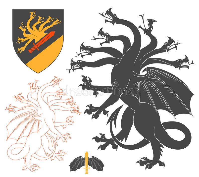 Black Hydra Illustration Stock Vector Illustration Of Medieval