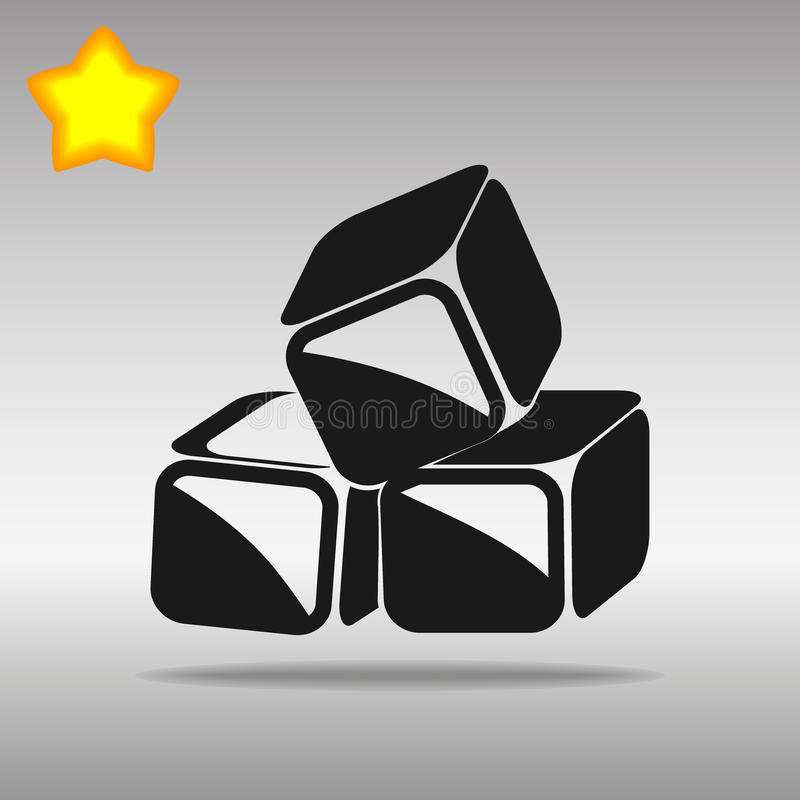 Black ice cubes Icon button logo symbol concept high quality. On the gray background royalty free illustration
