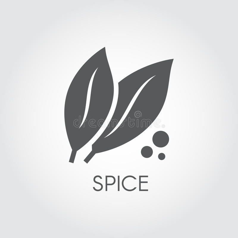 Black icon of abstract leaves. Flat symbol for culinary spice, ecological plants, products concept. Vector illustration. On a gray background royalty free illustration