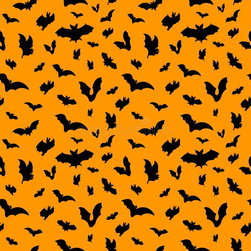 Black icon bats pattern on orange background. Vector illustration royalty free stock photos