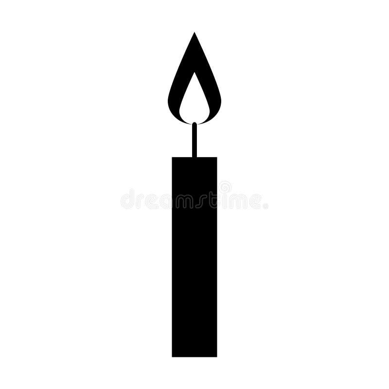 Black icon birthday candle cartoon stock illustration