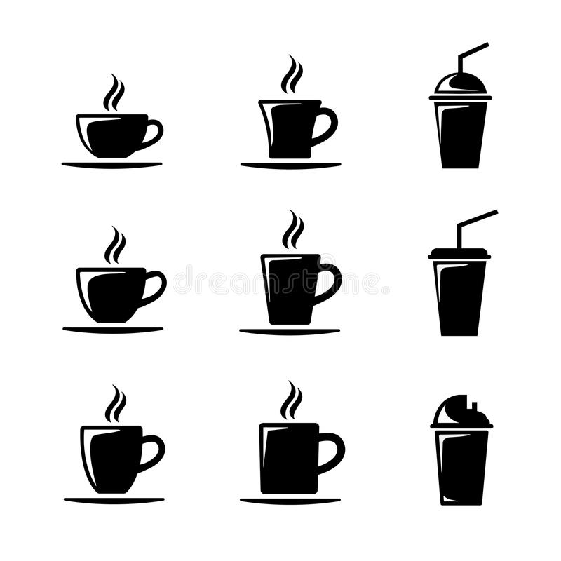 Black icon cup coffee set stock image