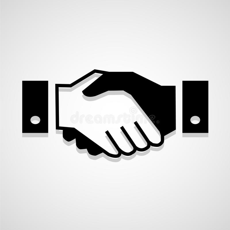Black icon handshake background for business vector stock photo