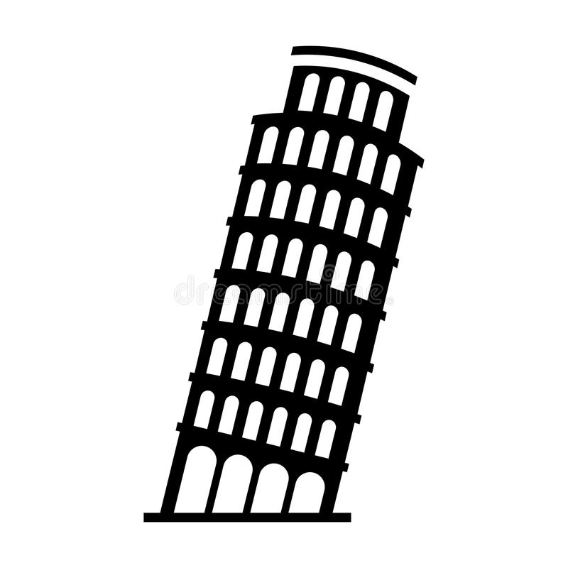 Black Icon Leaning Tower Of Pisa Stock Vector ...